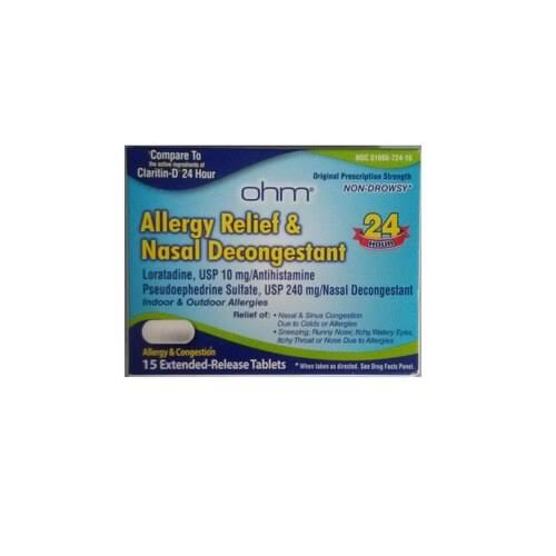 Ohm 24 Hour Allergy Relief & Nasal Decongestant Tablets, 15 Count