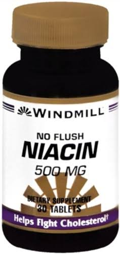 Windmill Niacin Tablets No Flush Supplement - 30 Tablets