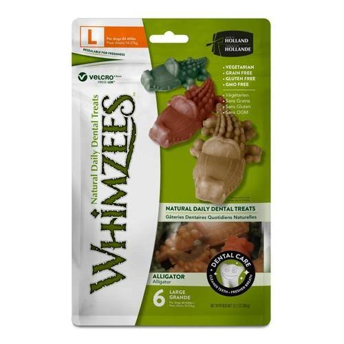 Whimzees Alligator Dental Dog Treats - 6 Large