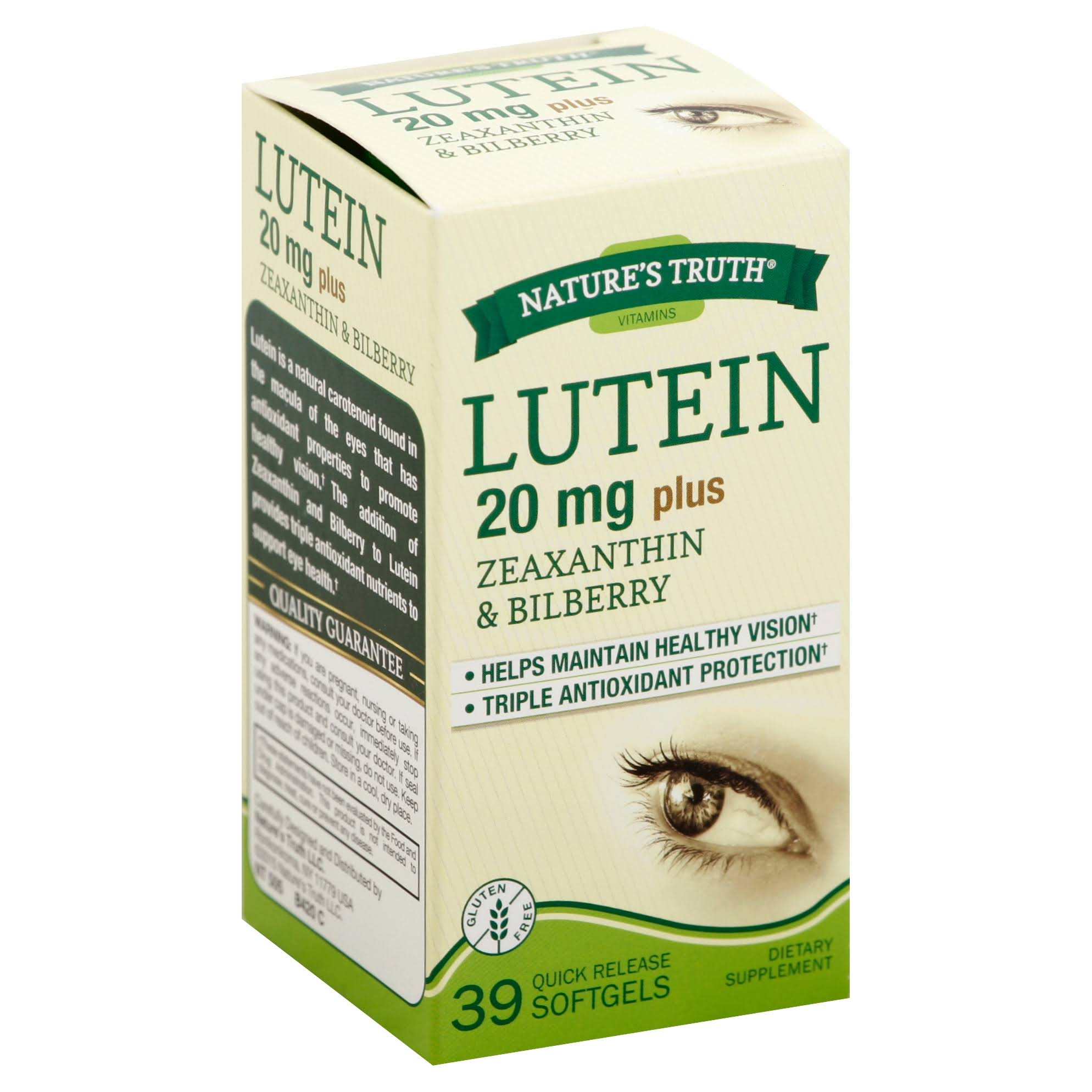 Nature's Truth Lutein Dietary Supplement - 20mg, 39 Softgels