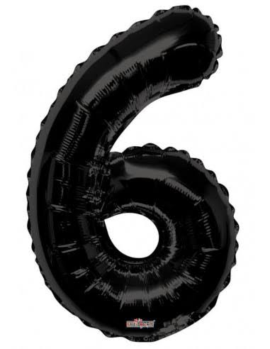 Black Number 6 Balloon 34inch