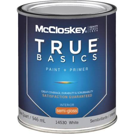 McCloskey True Basics Interior Latex Semi-Gloss Paint - White, 1qt