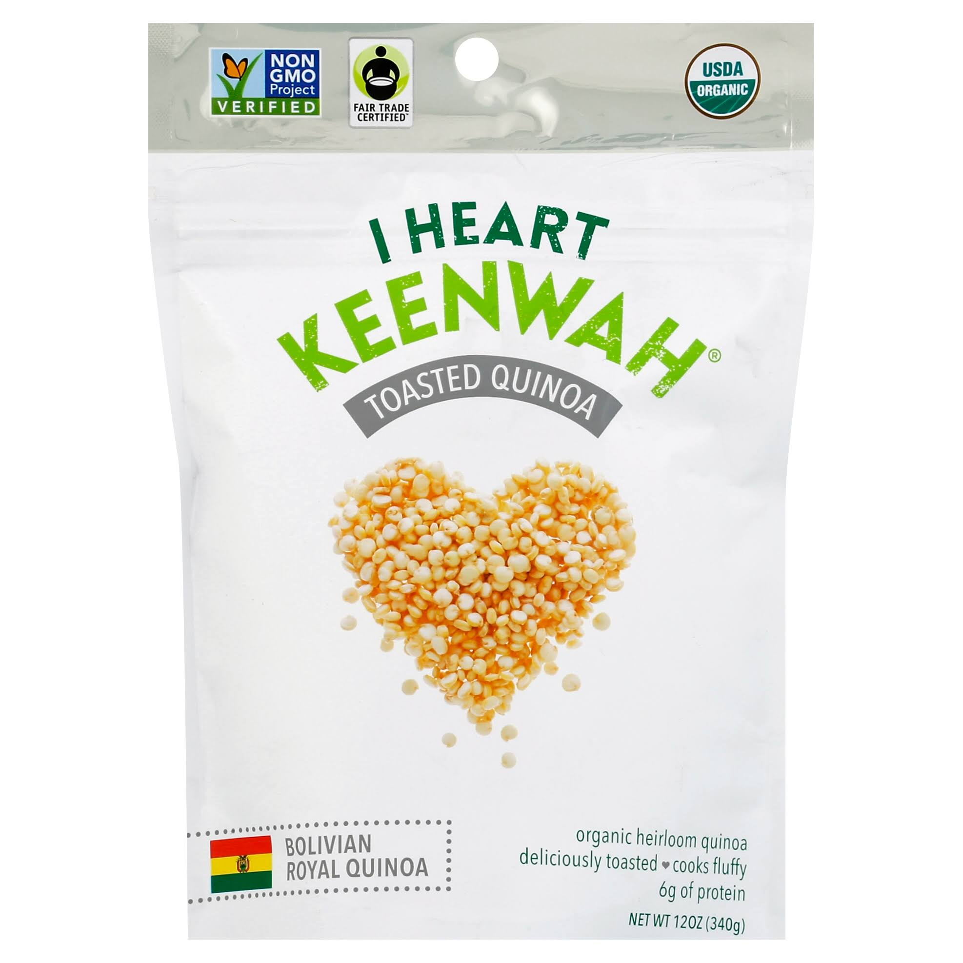 I Heart Keenwah Toasted Quinoa - White, 12oz, 6 Pack