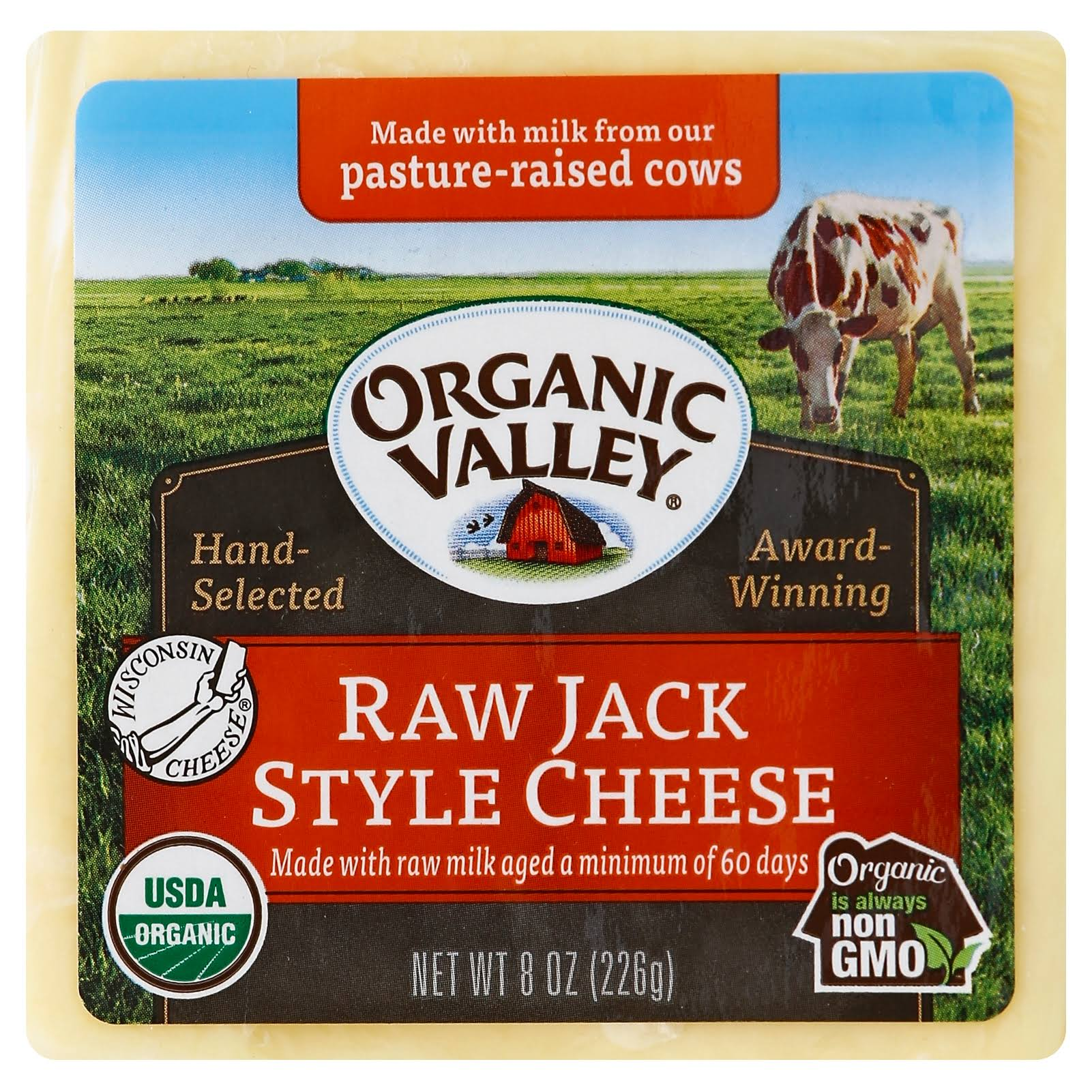 Organic Valley Cheese, Raw, Jack Style - 8 oz
