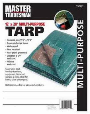 Master Tradesman Storage Tarp Cover - Green Brown, 12' x 20'