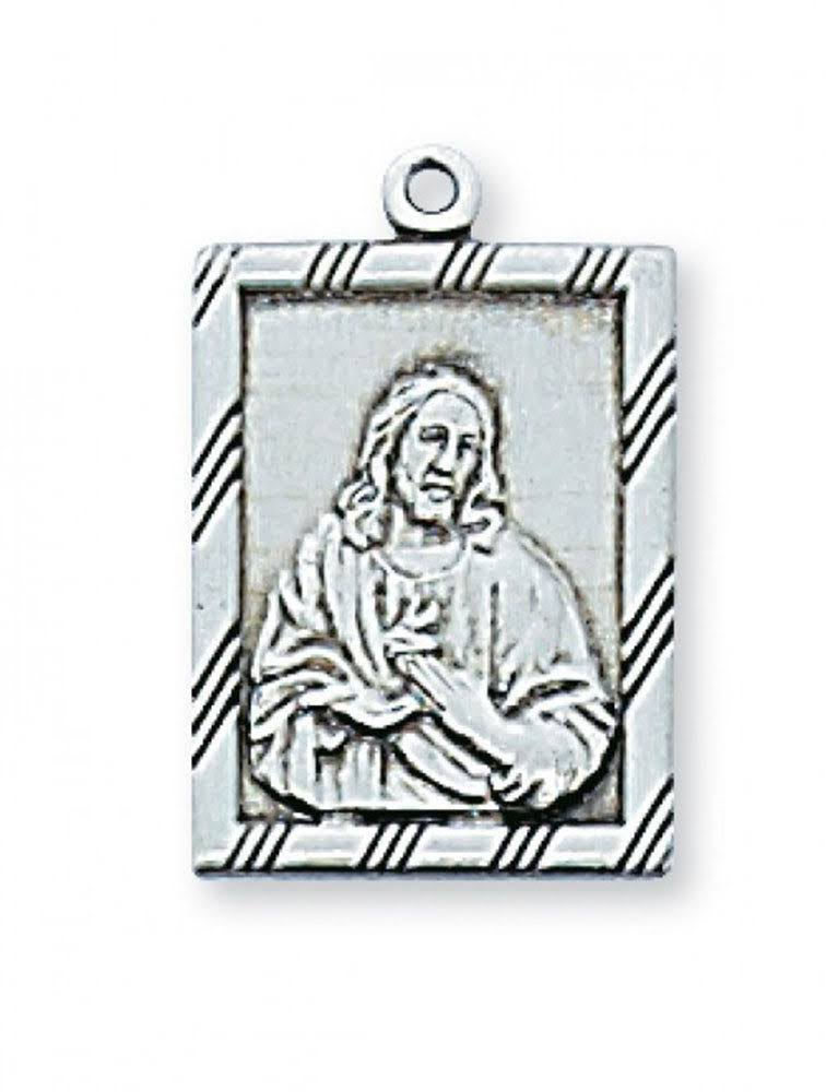 Sterling Silver Sacred Heart Medal 18 inch Necklace Chain