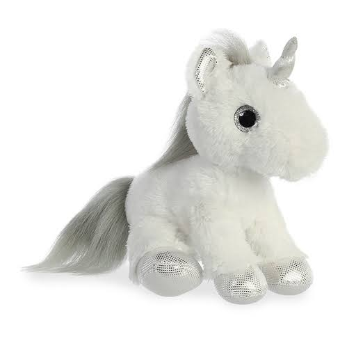 Aurora Sparkle Tales Unicorn Plush Toy - Silver , 12""