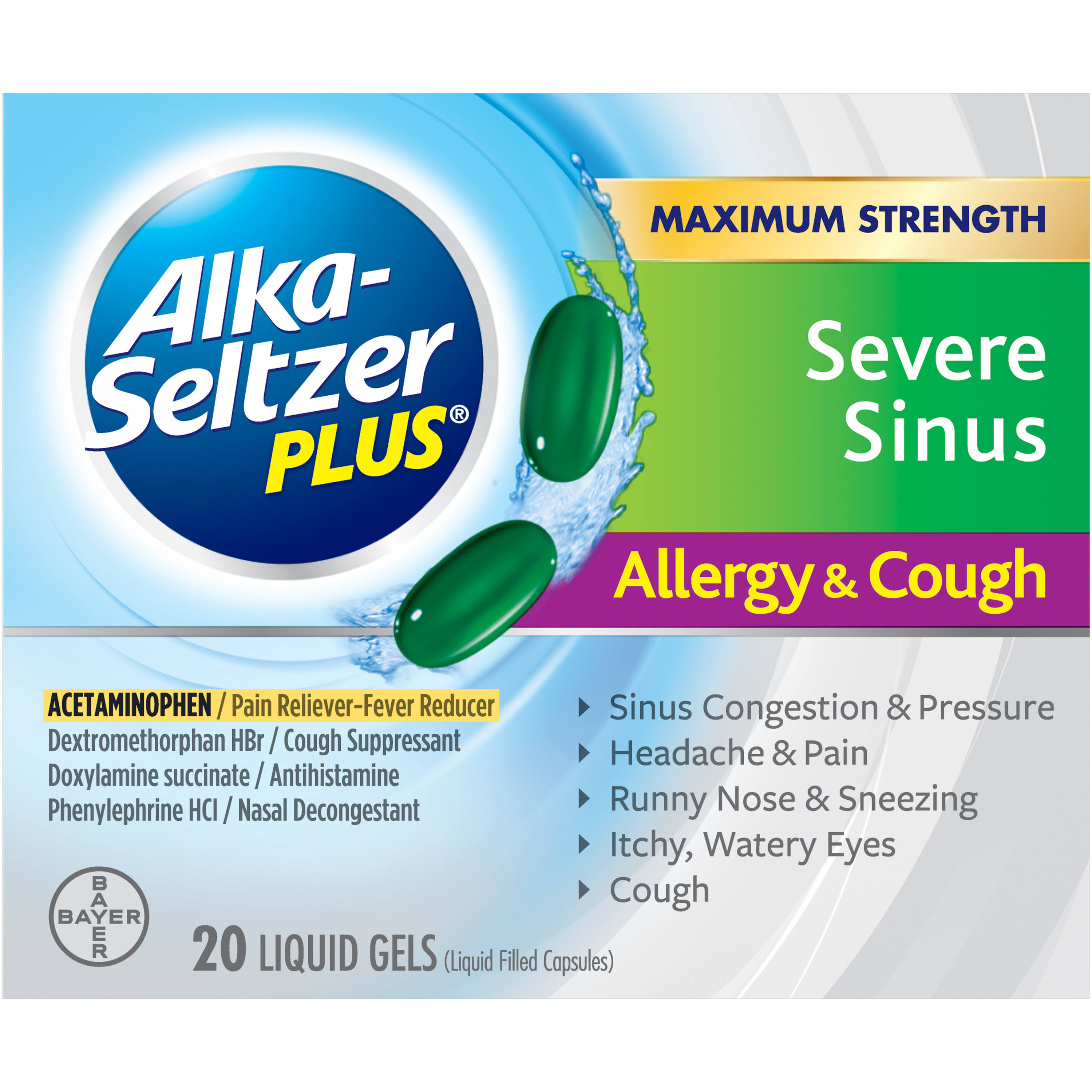 Bayer Alka-Seltzer Plus Severe Sinus Congestion Allergy and Cough Formula - 20ct