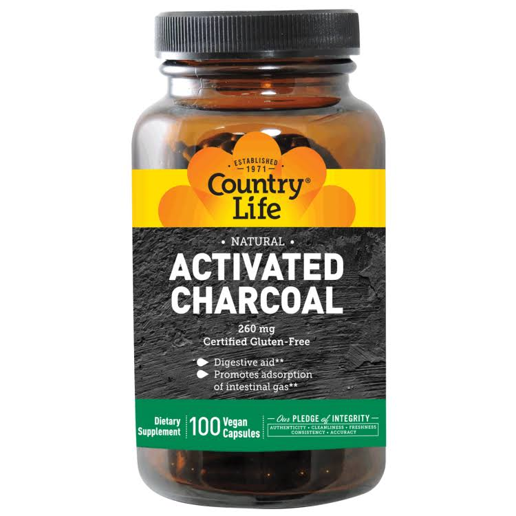 Country Life Activted Charcoal Dietary Supplement - 260mg, 100 Capsules