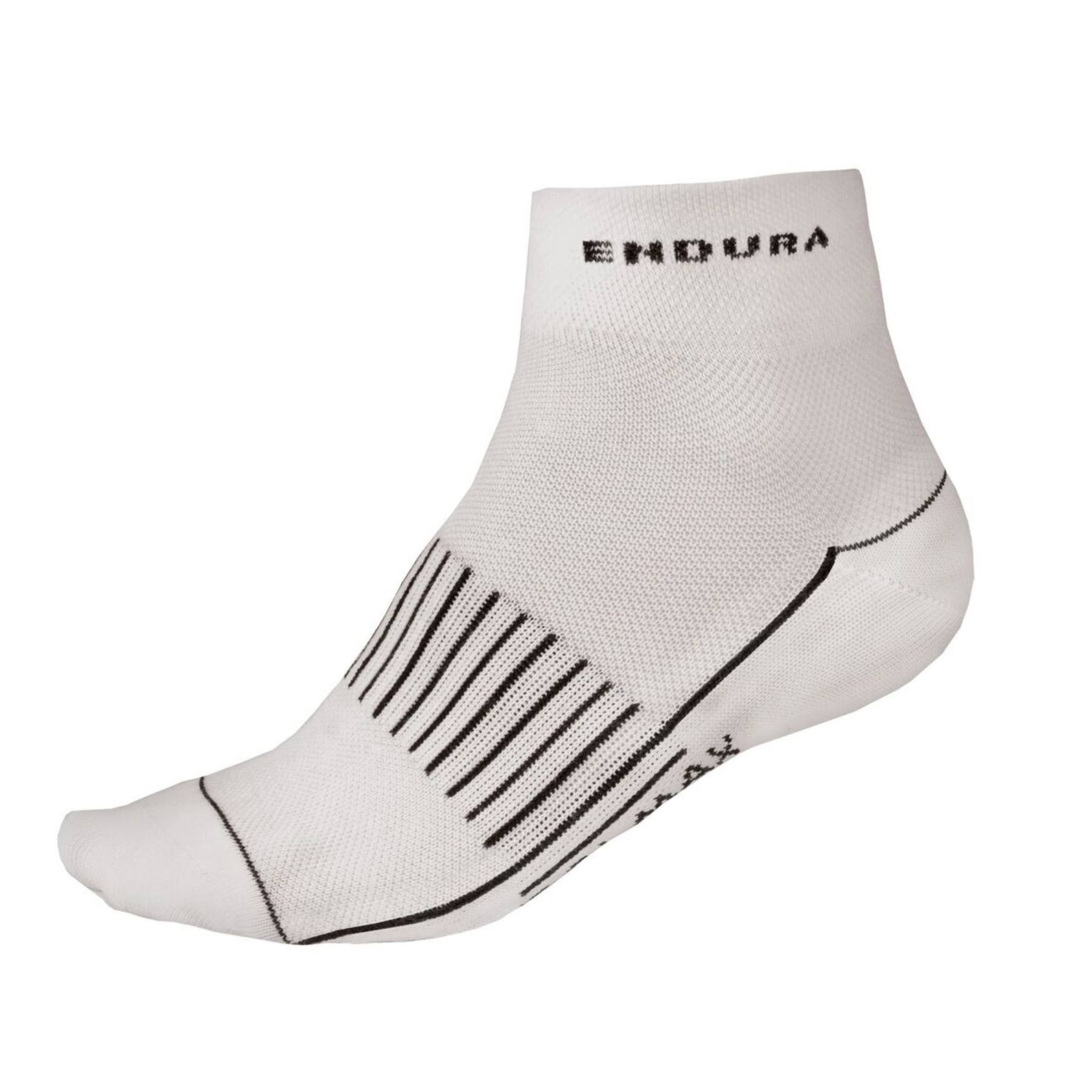 ENDURA COOLMAX® Race II Sock - White, Small to Medium, Pack of 3