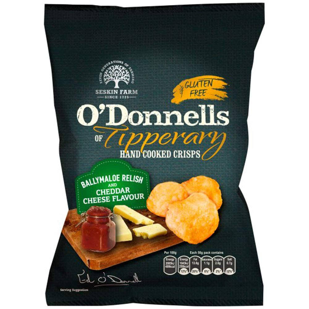 O'Donnells of Tipperary Hand Cooked Crisps - Ballymaloe Relish and Cheddar Cheese Flavour, 50g