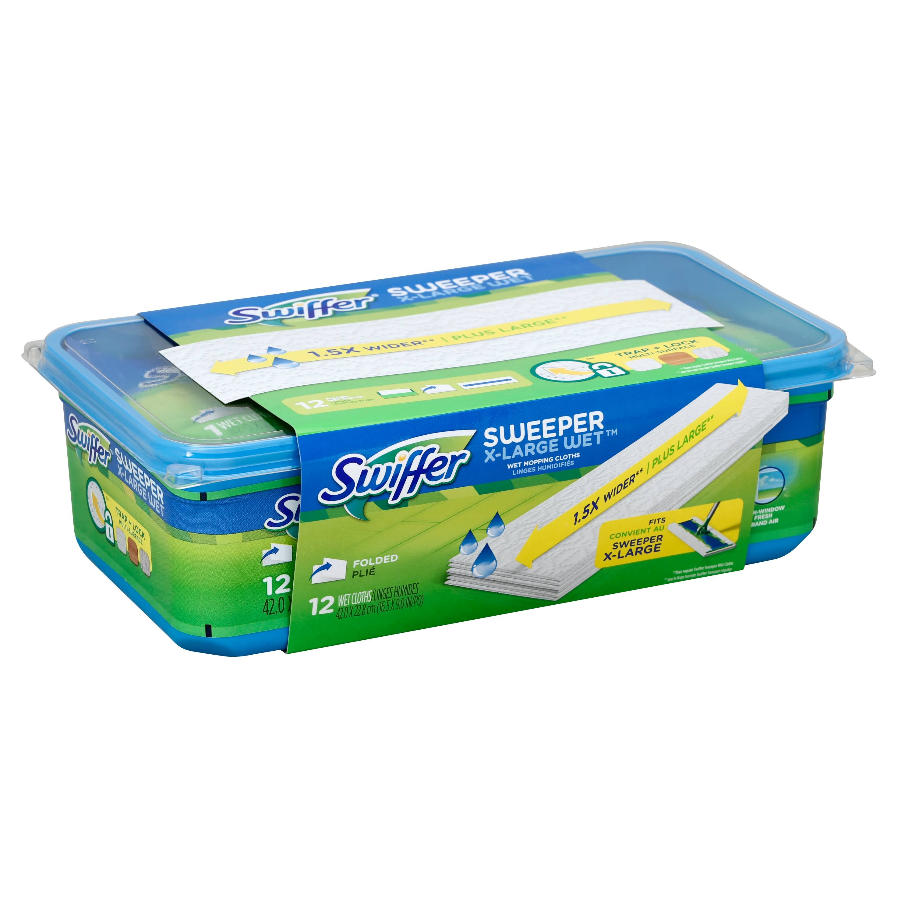 Swiffer Sweeper Wet Mopping Cloth Refills - with Open Window Scent, X-Large, 12ct