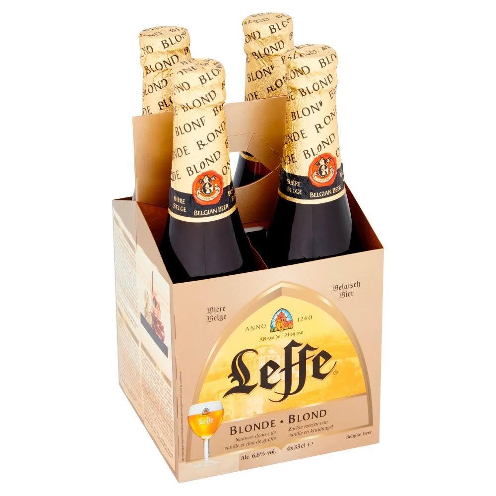 Leffe Blonde Abbey Beer - 330ml, 4pk