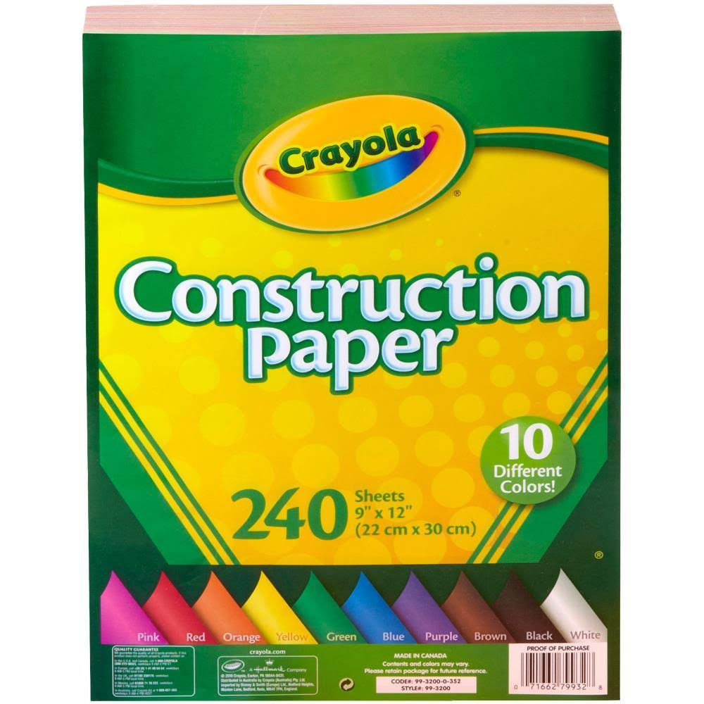 "Crayola Construction Paper - Assorted Colours, 240 Sheet, 12"" x 9"""