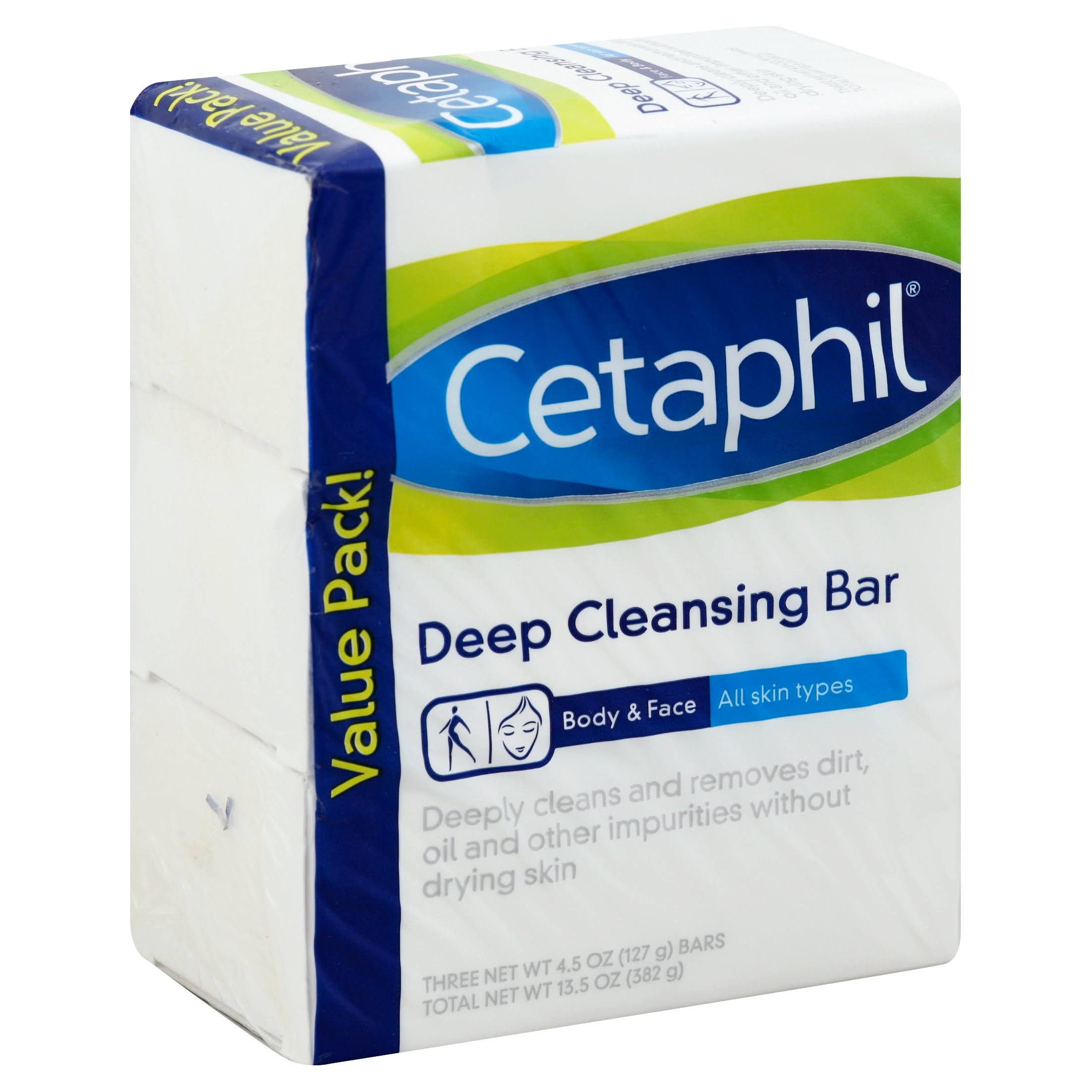 Cetaphil Deep Cleansing Face & Body Bar - Pack of 3