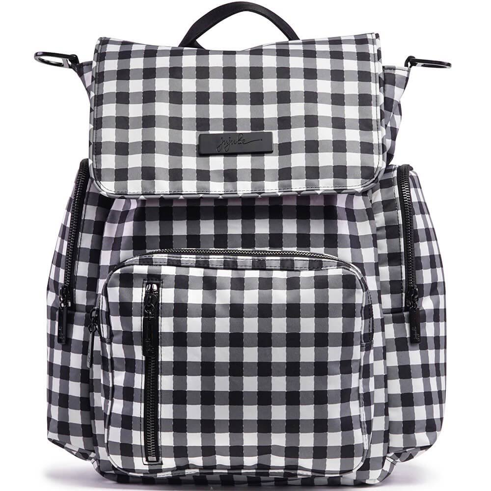 Ju-Ju-Be Onyx Collection Backpack Gingham Style Diaper Bag, Be Sporty