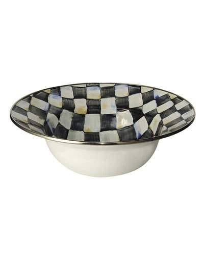"MacKenzie Childs Courtly Check Enamel Serving Bowl - 12"", 40oz"