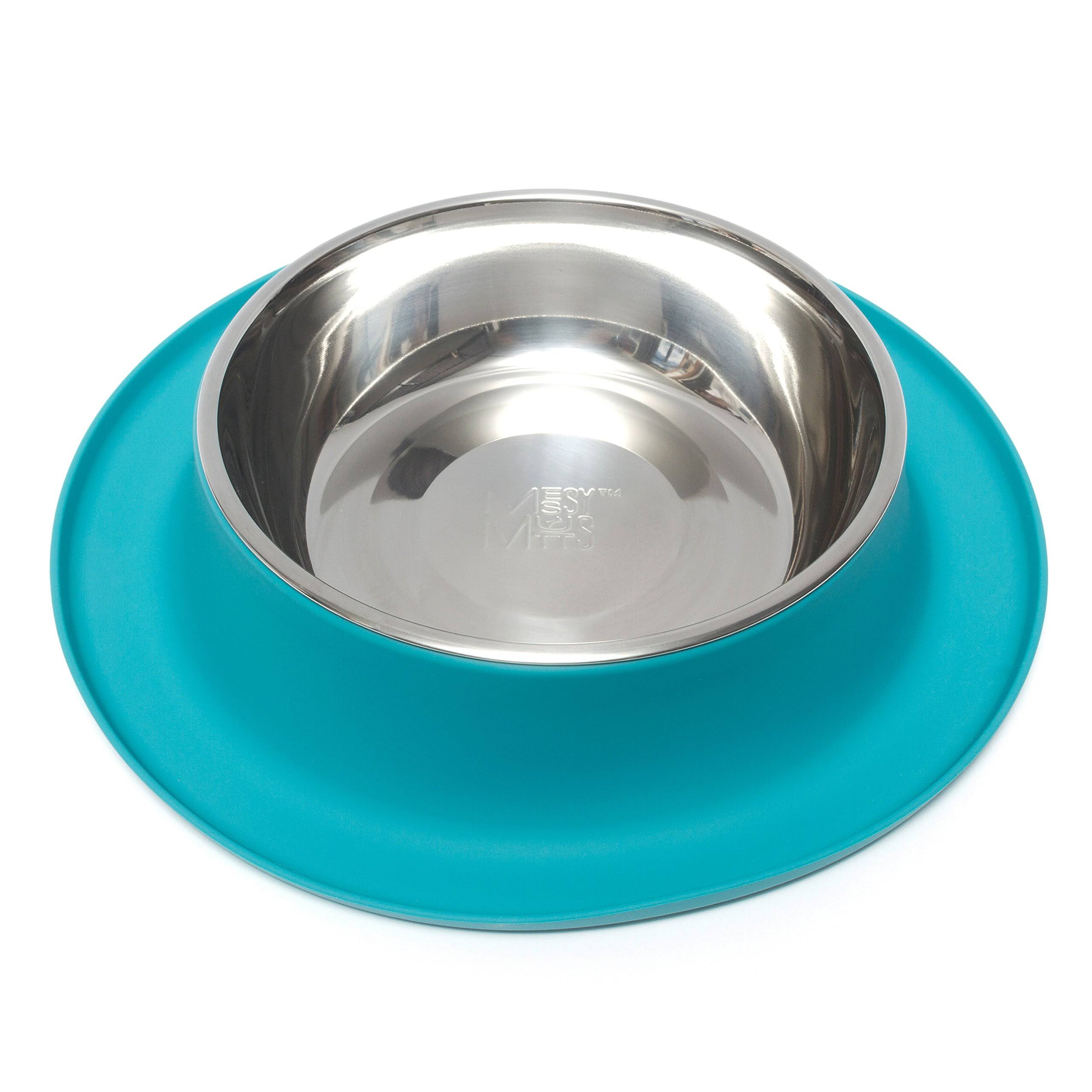 Messy Mutts Stainless Steel Dog Feeder - With Non-slip Silicone Base, Blue, XLarge