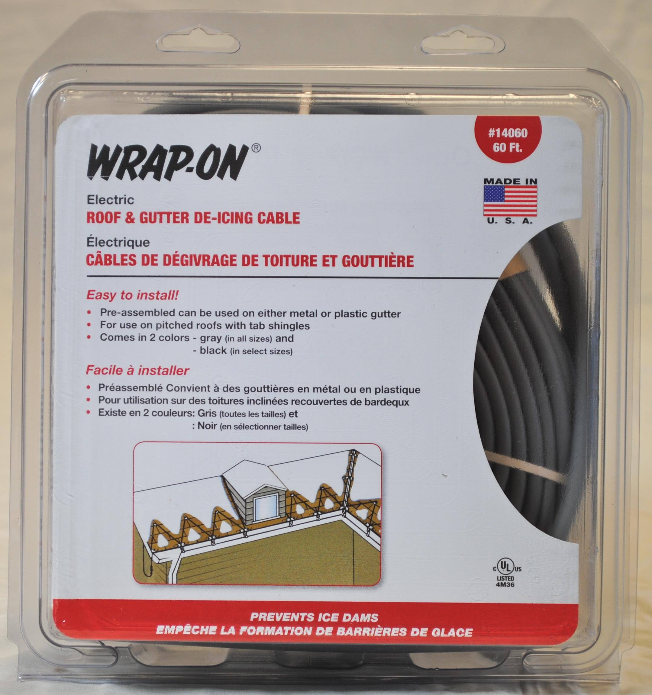 Wrap on 14060 Gutter Cable - 60', Grey, 300W, 2.50A