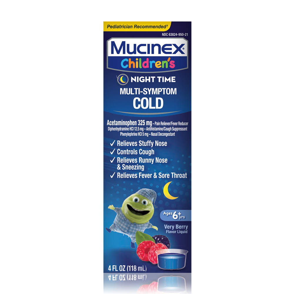 Mucinex Children's Night Time Multi-Symptom Cold Relief Liquid - Mixed Berry, 4oz
