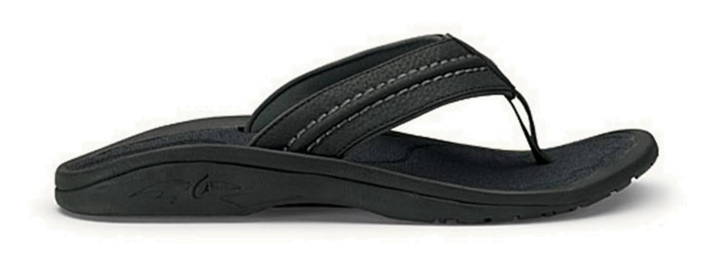 OluKai Men's Hokua Sandal - Black & Dark Shadow, Size 10 US