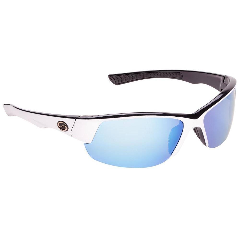 Strike King S11 Gulf Sunglasses White-Black Frame/White-Blue Mirror Gray Lens