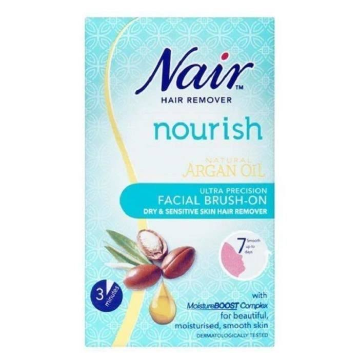 Nair Nourish Ultra Precision Facial Brush-On Hair Remover Cream - Argan Oil, Dry & Sensitive Skin, 50ml