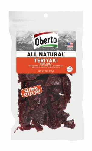 Oberto All Natural Beef Jerky - Teriyaki, 9oz, Natural Style Cut