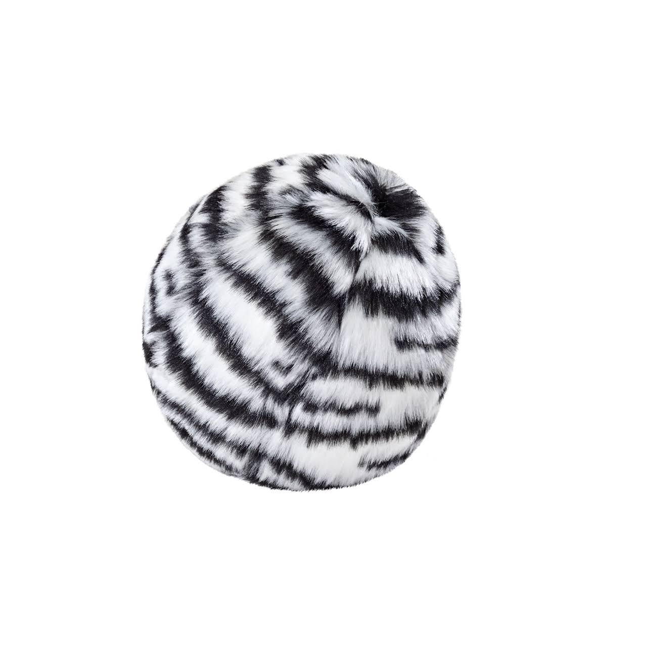 Fluff & Tuff Zebra Ball Durable & Ultra Plush Dog Toy 4in