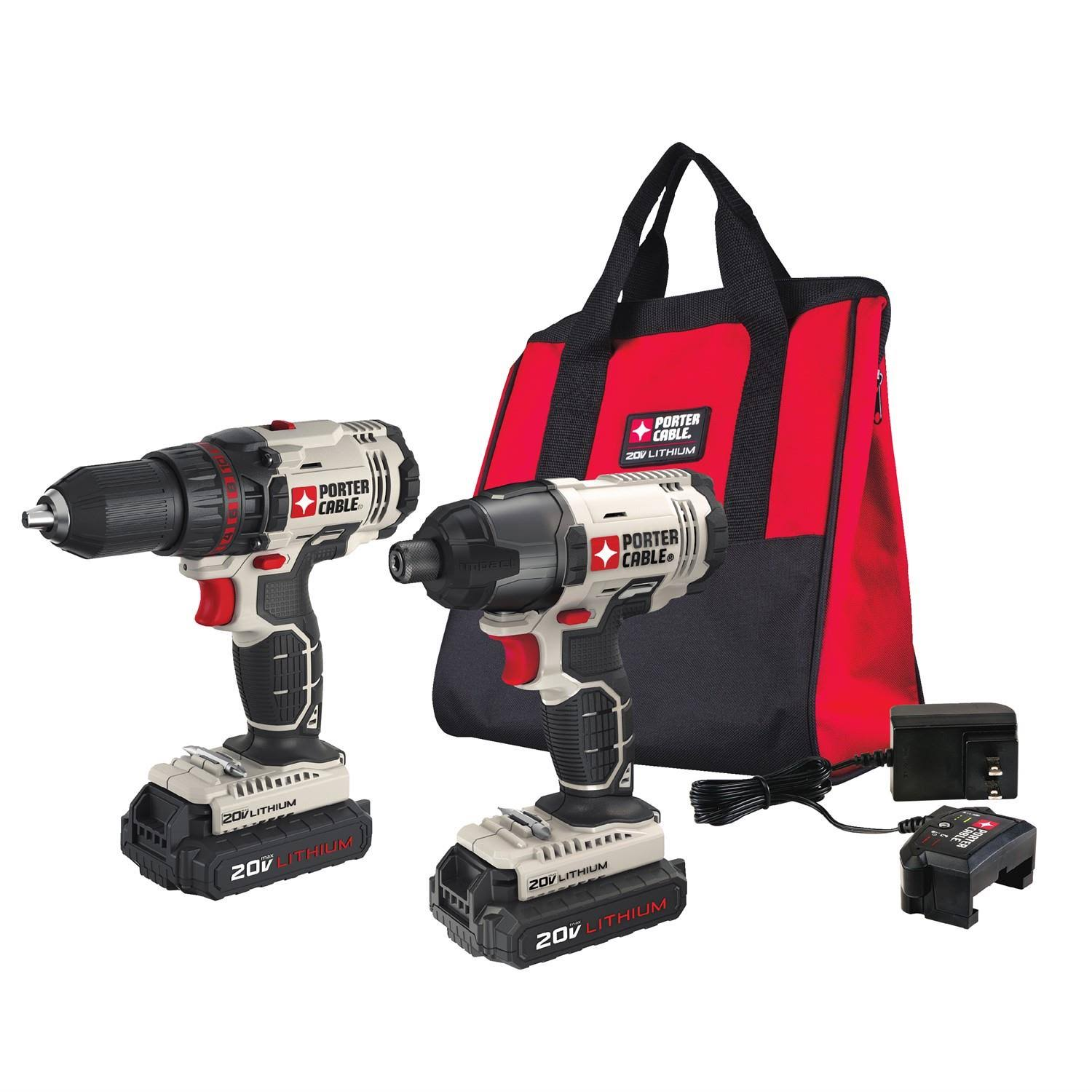 Porter-Cable PCCK604L2 20V Max Cordless Lithium-Ion Drill Driver and Impact Drill Kit