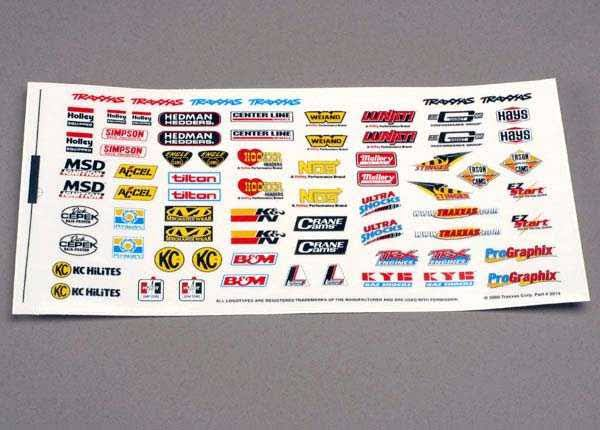 Traxxas 2514 Racing Sponsors Decal Stickers Sheet