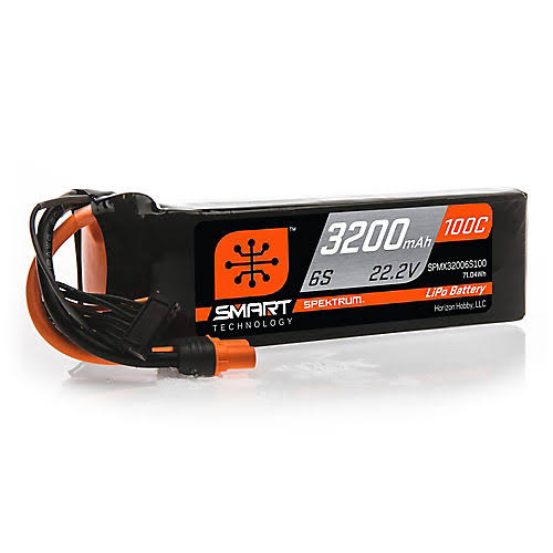 Spektrum 22.2V 3200mAh 6s 100C Smart Lipo battery, IC3, Spmx32006s100