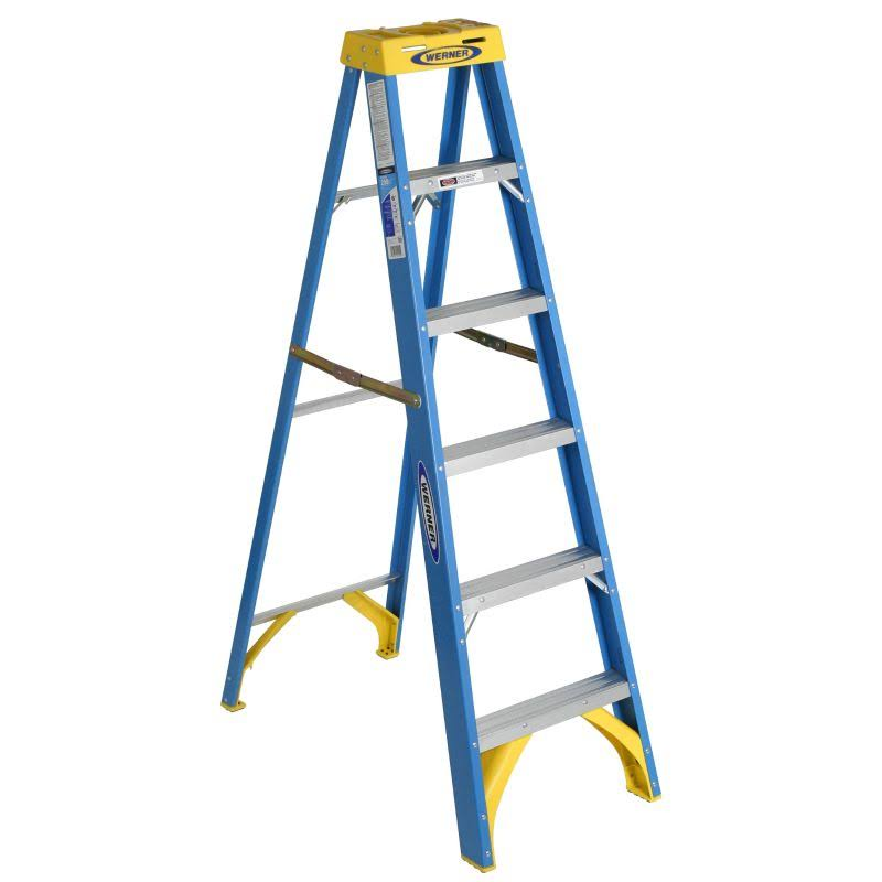 Werner Fiberglass Step Ladder - with 250lb Load Capacity, 6'