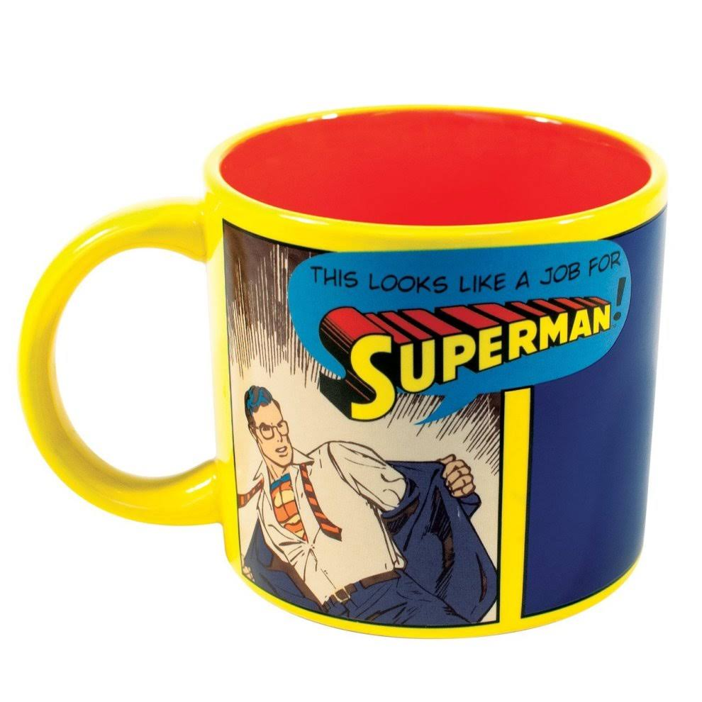 This Looks Like a Job For Superman Mug - 14oz, Heat Changing Clark Kent DC Justice