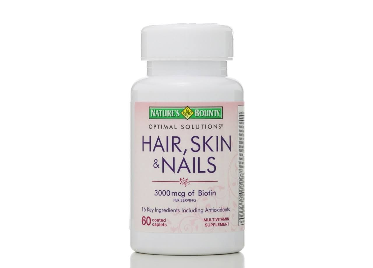 Nature's Bounty Optimal Solutions Hair Skin & Nails Dietary Caplets - 60 Coated Caplets