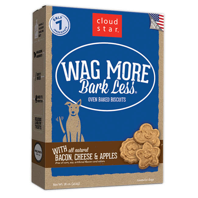 Cloud Star Wag More Oven Baked Dog Biscuits - 16oz, Bacon, Cheese and Apple