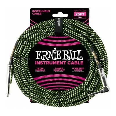 Ernie Ball Straight to Angle Instrument Cable - Black/Neon Green, 25'