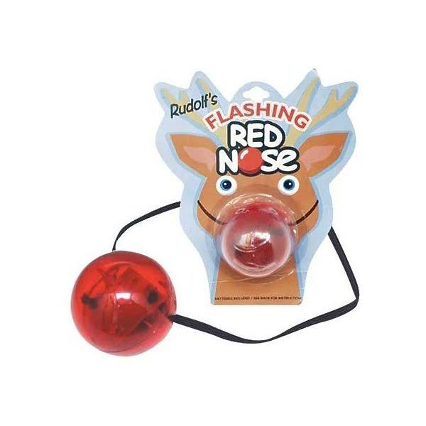 Toysmith Light Up Nose Battery Operated Holiday or Clown Toy - Red