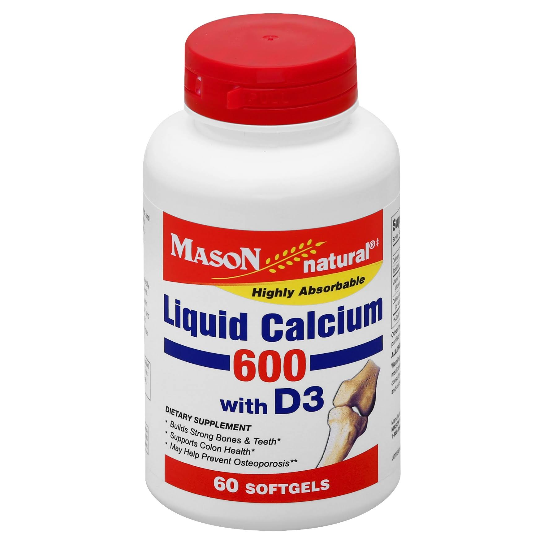 Mason Natural Liquid Calcium with Vitamin D Supplement - 1200mg, 60ct