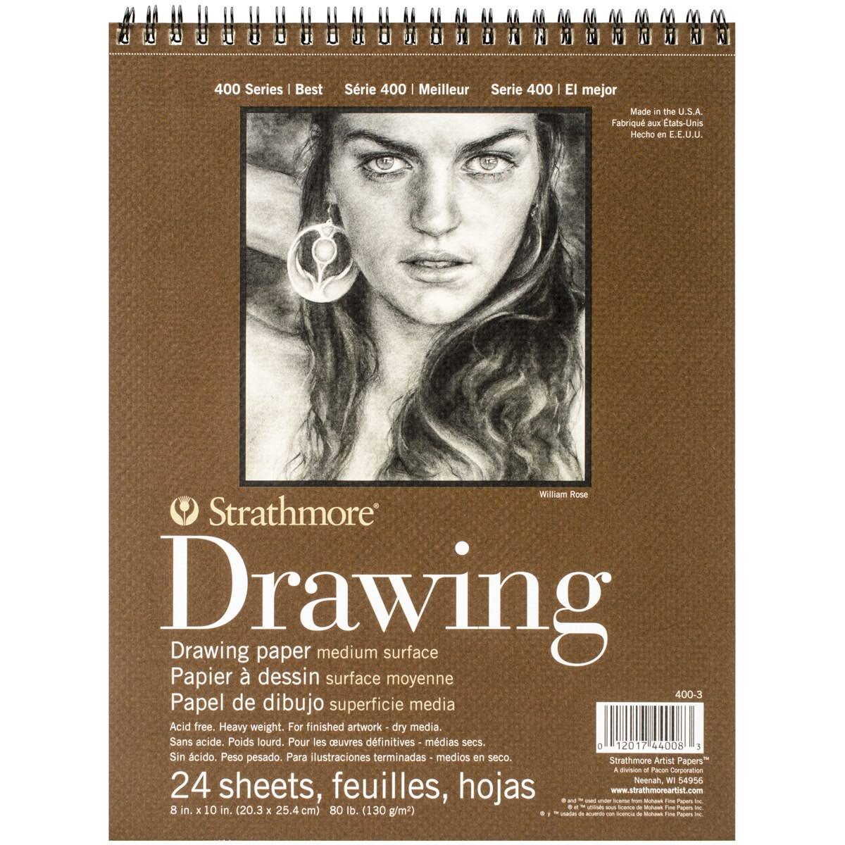 "Strathmore Drawing Spiral Paper Pad - Medium, 8""X10"", 24 Sheets"