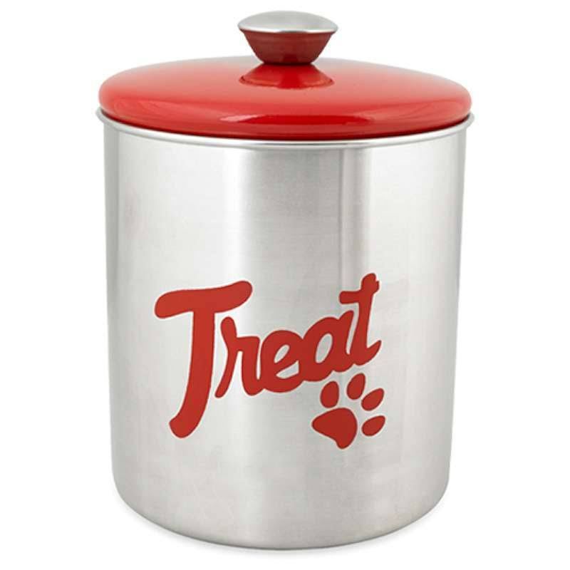 Buddy's Line Top Treat Jar - Red, Stainless Steel