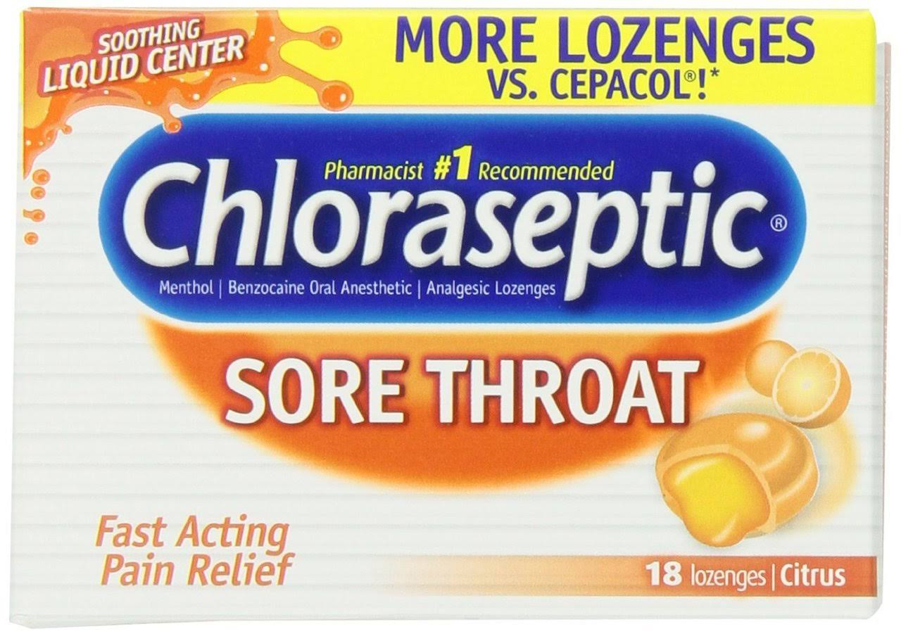 Chloraseptic Citrus Sore Throat Lozenges - 18 Pack