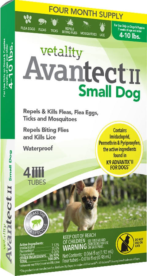 Tevra Brands Vetality Avantect II for Small Dogs - 4 Tubes