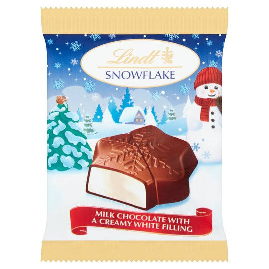 Lindt Snowflake Milk Chocolate - with a Creamy White Filling, 20g