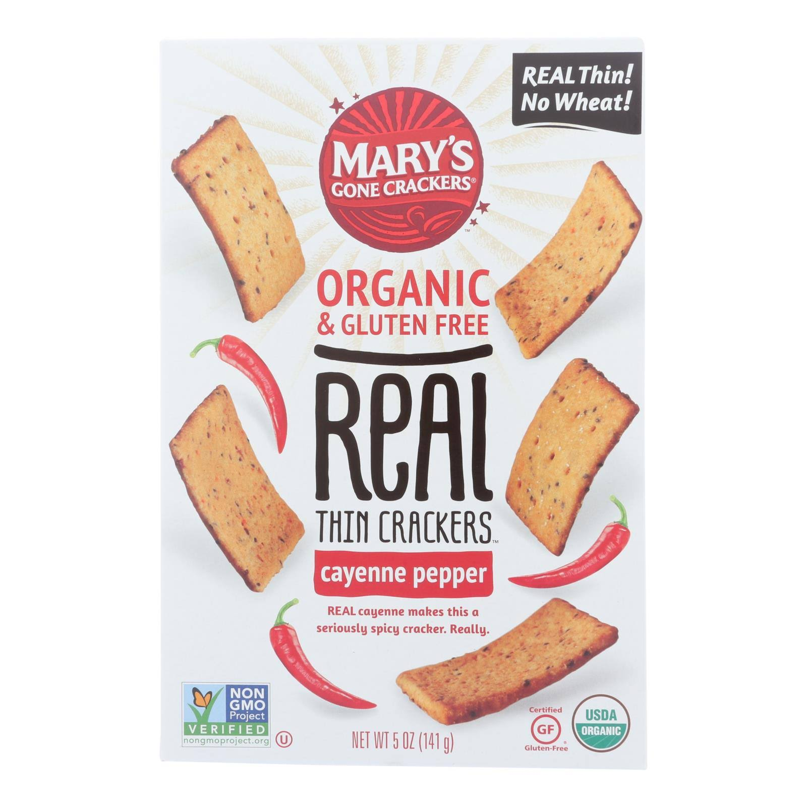Marys Gone Crackers Crackers, Organic & Gluten Free, Cayenne Pepper, Thin - 5 oz