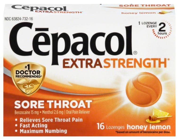 Cepacol Sore Throat Lozenges - Honey Lemon, Extra Strength, 16 Count
