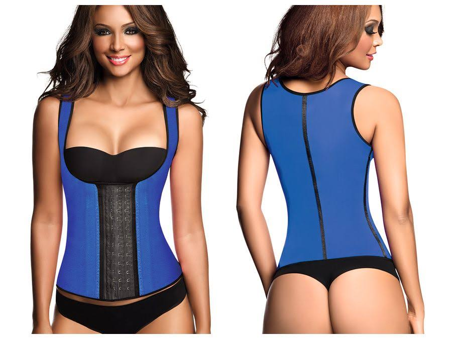 Ann Chery 2022 Classic 3 Hooks Latex Waist Cincher Shapewear Vest Color Blue 4XL (44)