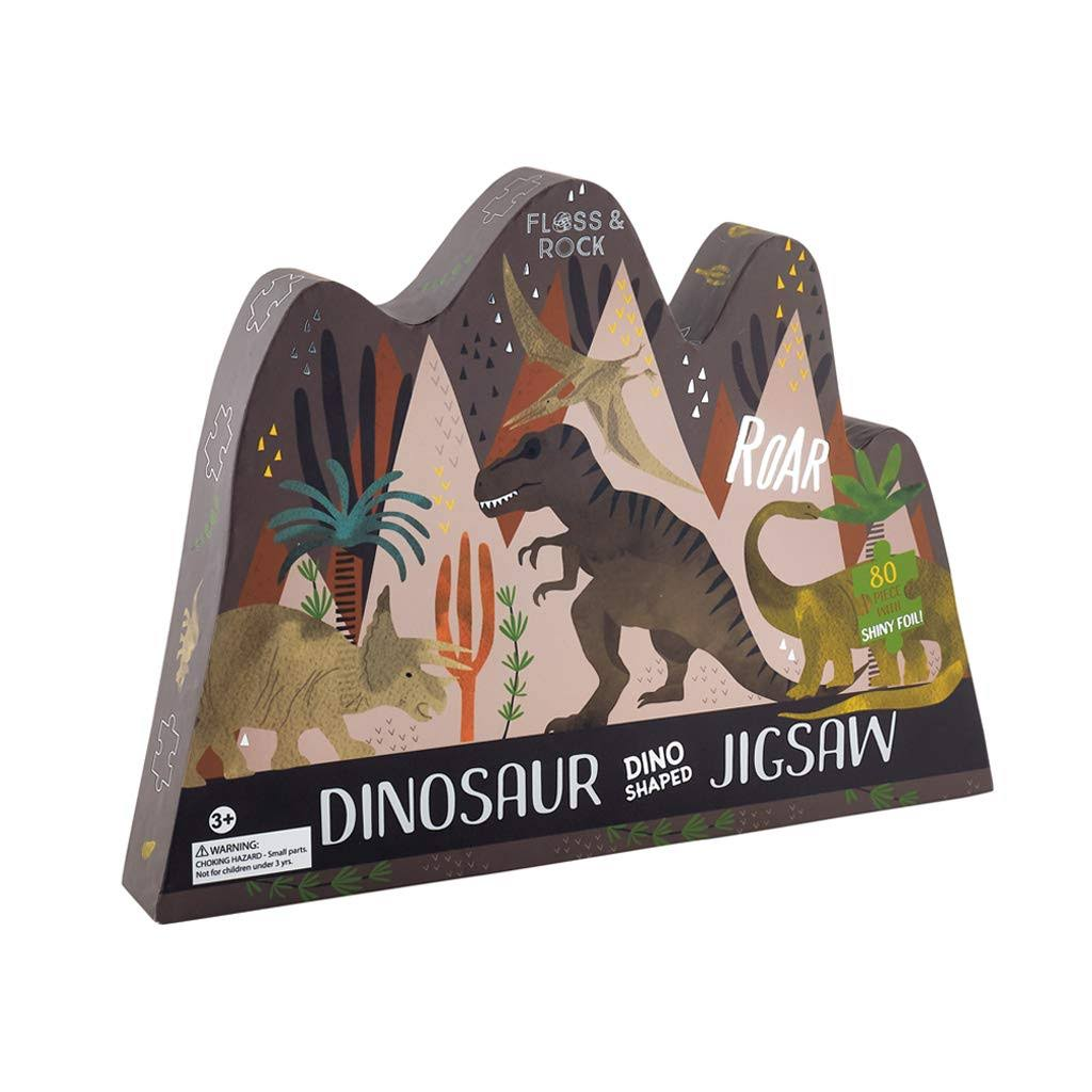 Floss and Rock Dinosaur Dino Shaped Jigsaw Puzzle (80-Piece)