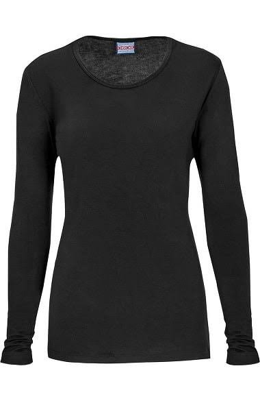 Cherokee Women's Workwear Long Sleeve Knit Scrubs Tee - Black, XX-Large