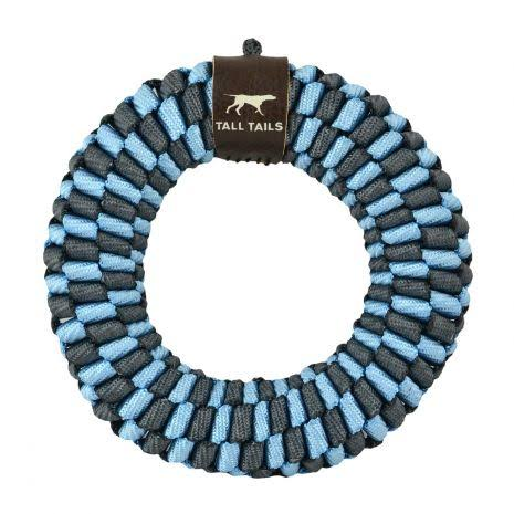 Tall Tails 88217077 Comfy Critters Braided Ring Dog Toy Blue - 6 in.